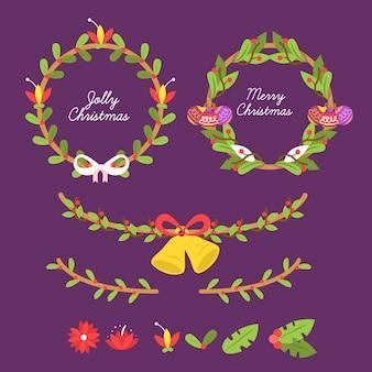 Ручной обращается рождественские цветы и венок