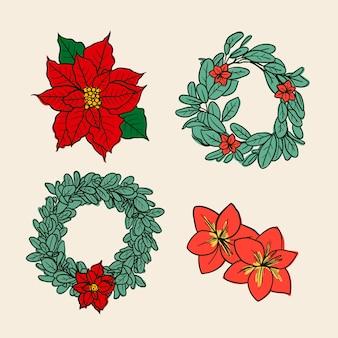 手描きのクリスマスフラワー&リースコレクション