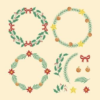 손으로 그린 크리스마스 꽃 & 화 환 컬렉션
