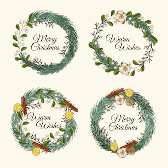 Hand drawn christmas flower & wreath pack