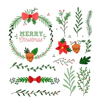 Hand drawn christmas flower and wreath set