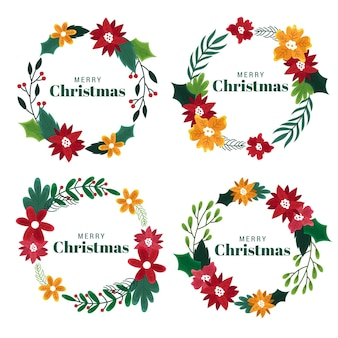 Рождественские цветы и венки рисованной