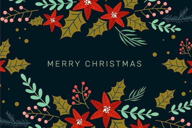 手描きのクリスマスの花の背景