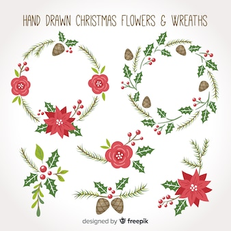 Hand drawn christmas flowers and wreaths set