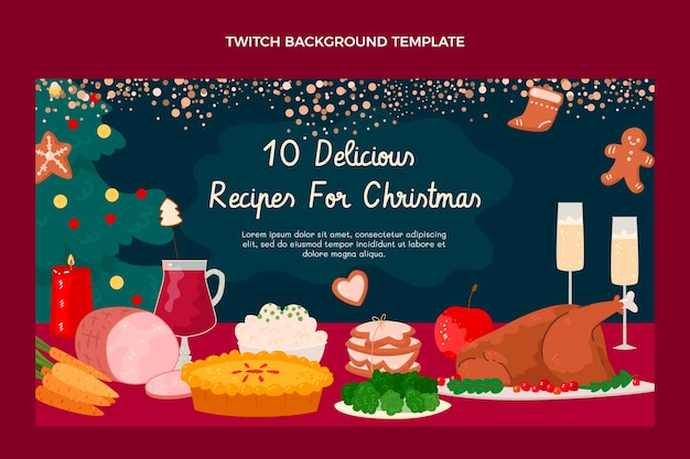 Hand drawn christmas food twitch background