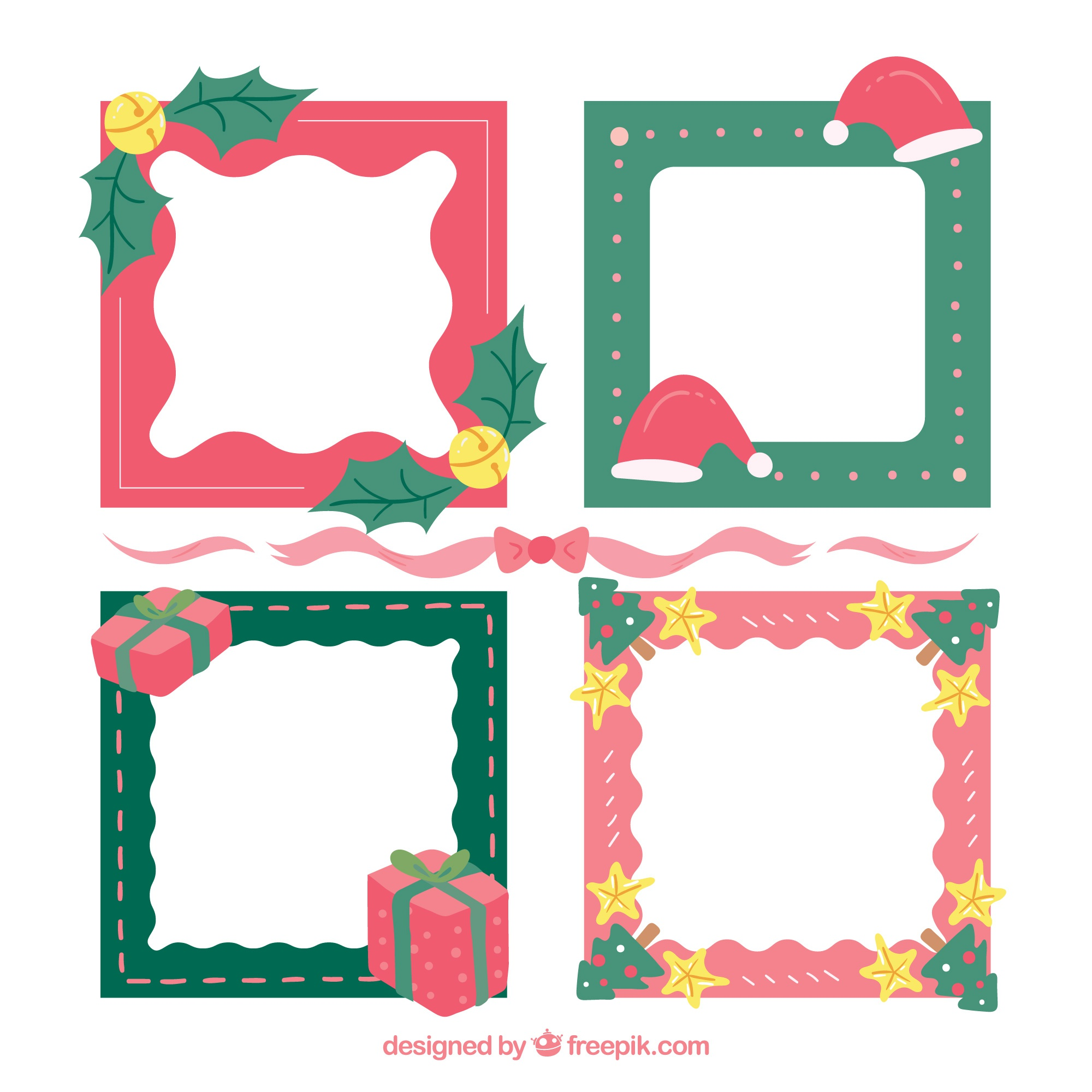 Hand drawn christmas frame collection in green and red