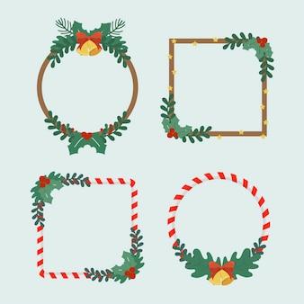 手描きのクリスマスフレームとボーダーコレクション