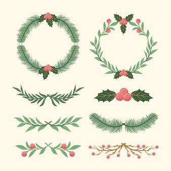 手描きのクリスマスフレームとボーダー