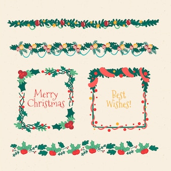 Нарисованные от руки рождественские рамки и бордюры