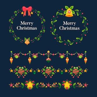 손으로 그린 크리스마스 프레임 및 테두리