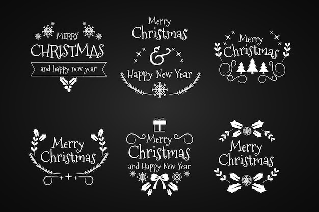 Hand drawn christmas frames and borders on black background