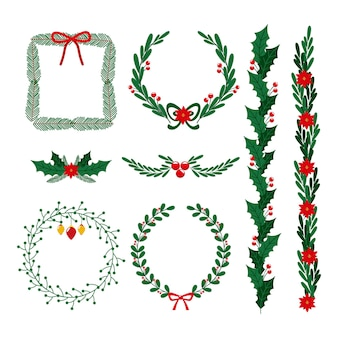 Hand drawn christmas frames and borders collection
