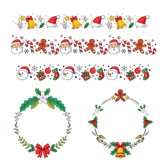 Hand drawn christmas frames and borders set