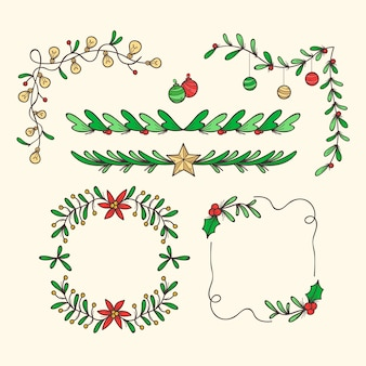 Hand drawn christmas frames and borders