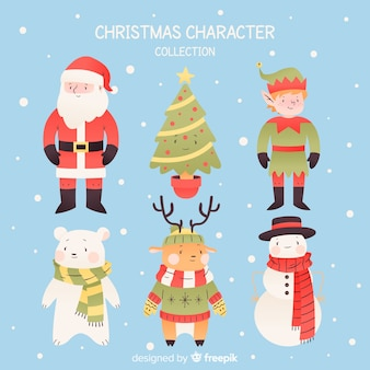 Hand drawn christmas friends collection