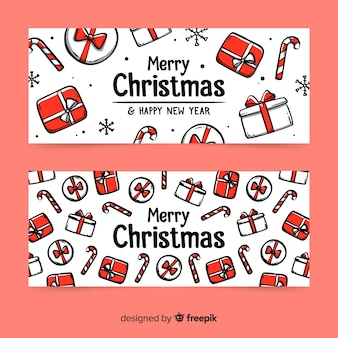 Hand drawn christmas gift banners