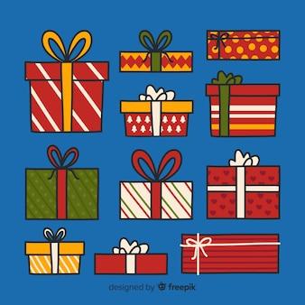 Hand drawn christmas gift box collection