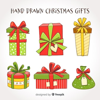 Hand drawn christmas gifts collection