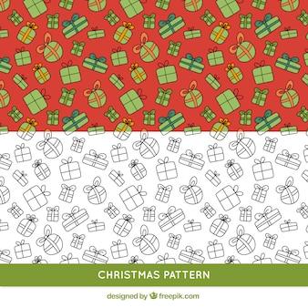Hand drawn christmas gifts pattern