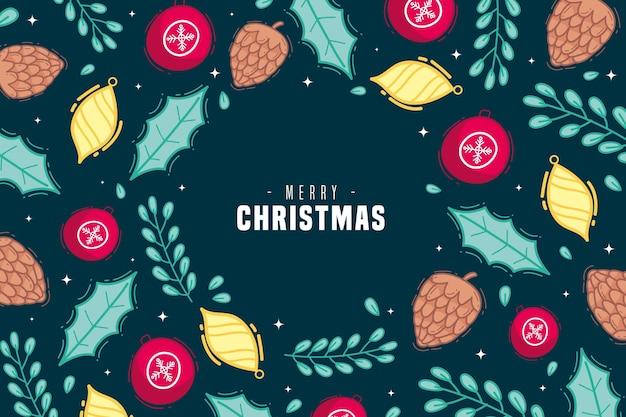 손으로 그린 크리스마스 글로브 배경