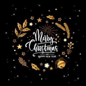 손 검은 배경에 글자와 함께 크리스마스 황금 화 환을 그려. 크리스마스 소원
