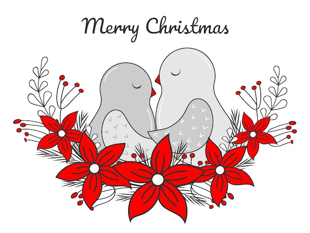 Hand drawn christmas greeting card. birds in the nest. wreath with poinsettia and leaves. vector illustration. isolated on white. doodle, line art.
