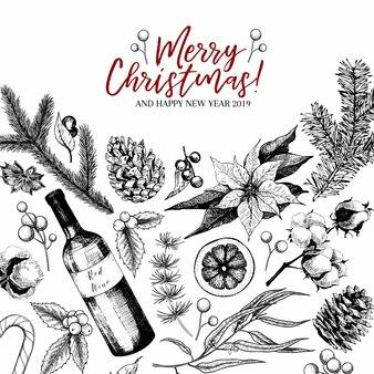 Hand drawn christmas greeting card.