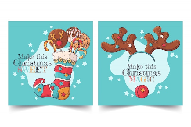 Hand drawn christmas greeting cards