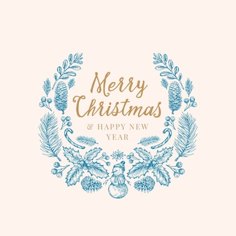 Hand drawn christmas greetings sketch wreath, banner or card template.