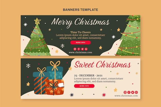 手描きのクリスマス水平バナーセット