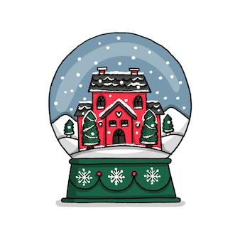 Hand drawn christmas house globe