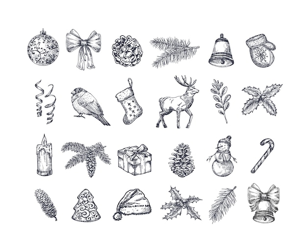 Hand drawn christmas icons set.