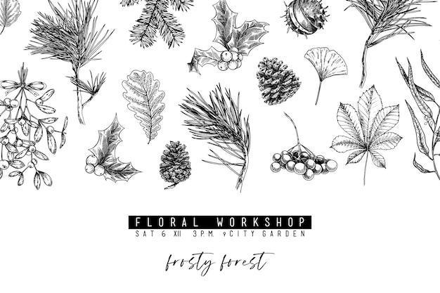 손으로 그린 크리스마스 그림. 숲 식물과 나뭇잎. 크리스마스, 새해 미니멀리스트