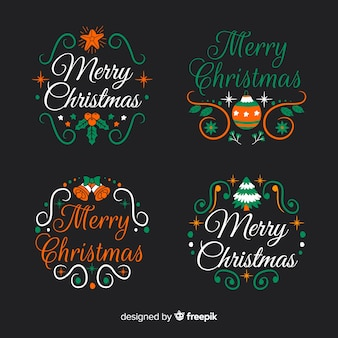 Hand drawn christmas label and badge collection on black background