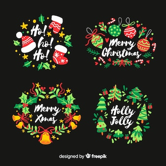Hand drawn christmas label on black background