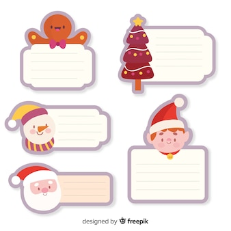 Hand drawn christmas label collection