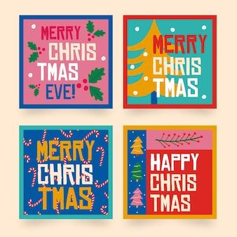 Коллекция рисованной рождественских этикеток