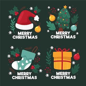 Collezione di etichette natalizie disegnate a mano