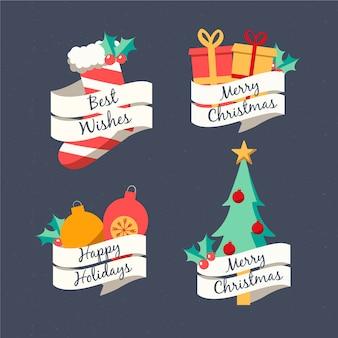 Набор рисованной рождественские этикетки