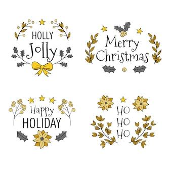 Set di etichette natalizie disegnate a mano