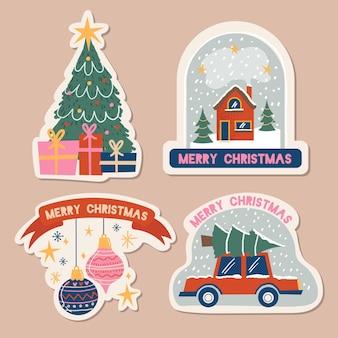 Рождественский набор рисованной этикеток