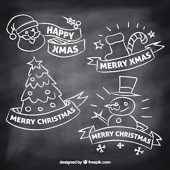 Hand drawn christmas labels in blackboard effect