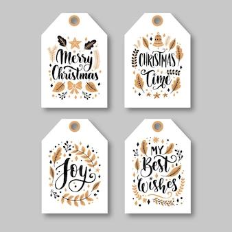 手描きのクリスマスラベルコレクション