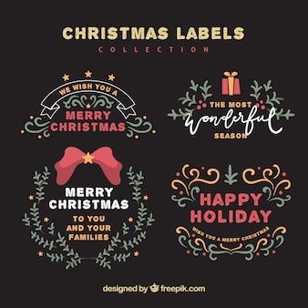 Рисованные рождественские ярлыки в эффекте доски
