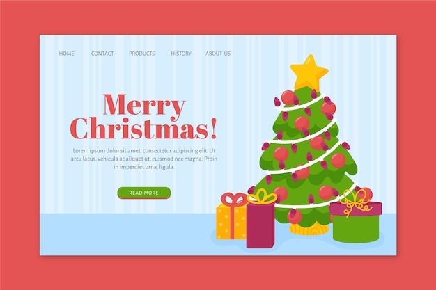 Hand drawn christmas landing page template