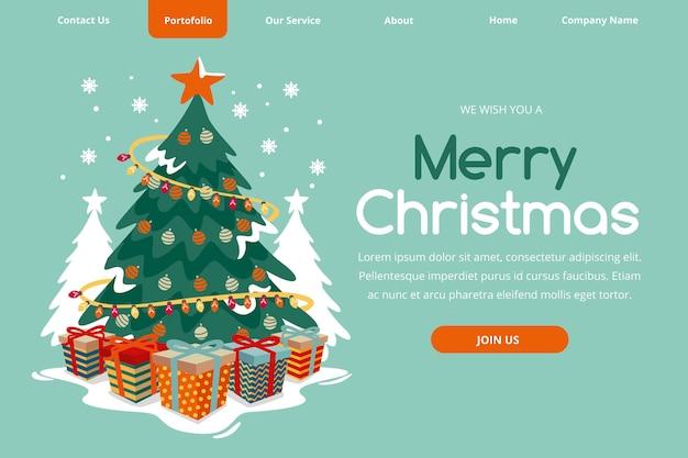 Ручной обращается рождественский шаблон целевой страницы
