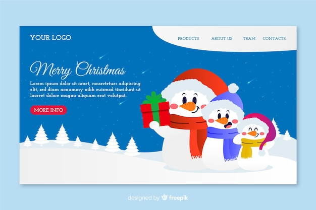 Hand drawn christmas landing page with family of snowmen