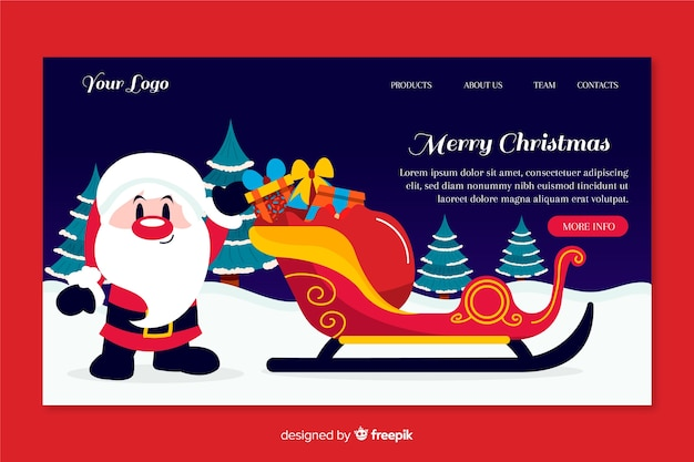 Hand drawn christmas landing page with santa claus