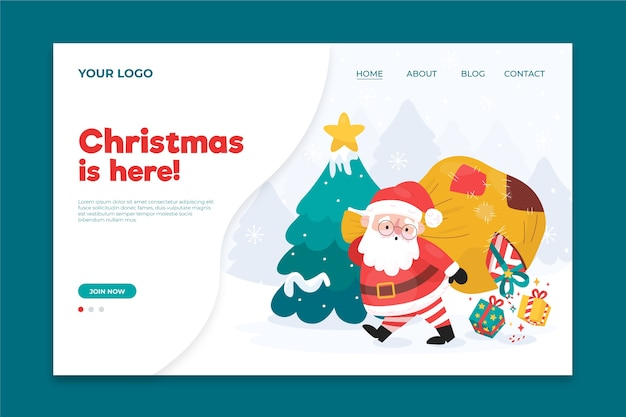 Hand drawn christmas landing page