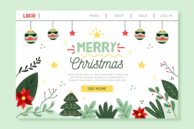 손으로 그린 크리스마스 방문 페이지